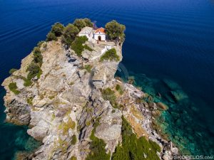 Skopelos Beaches Agios-Ioannis Yannis Giannis Beach Aerial Photo