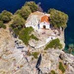 Foto aérea de Skopelos Agios Ioannis