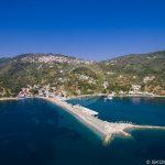 Foto aeree del porto di Glossa Loutraki dei porti di Skopelos