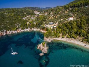 سواحل Skopelos ، skopelos ساحل stafilos ، نزدیک به سواحل کر