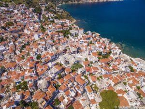 Cidade de Skopelos, skopelos chora, ilha mamma mia, férias em skopelos