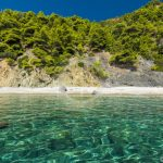 תצלום אווירי מחוף הים Skopelos Velanio