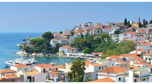 skiathos Hafen, Skopelos Hafen, kritt op Skopelos, vu Skiathos