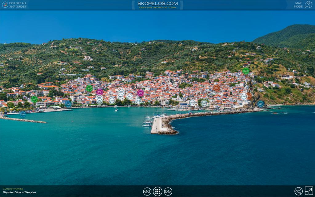 Skopelos 360 -panoraamanäkymä Skopelos-panoraamavalokuvat